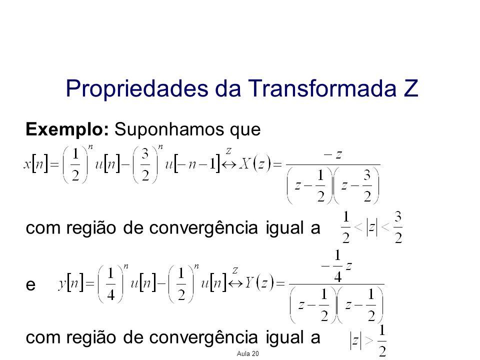 Aula 20 Propriedades da Transformada Z Exemplo: Suponhamos que com região de convergência igual a e