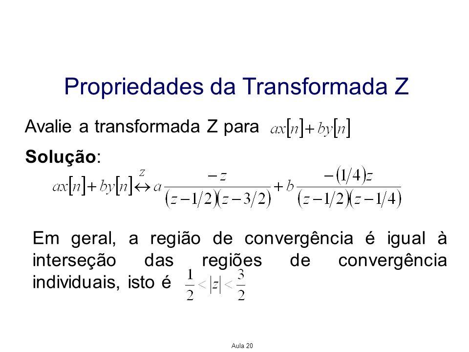 Aula 20 Propriedades da Transformada Z Avalie a transformada Z para Solução: Em geral, a região de convergência é igual à interseção das regiões de co
