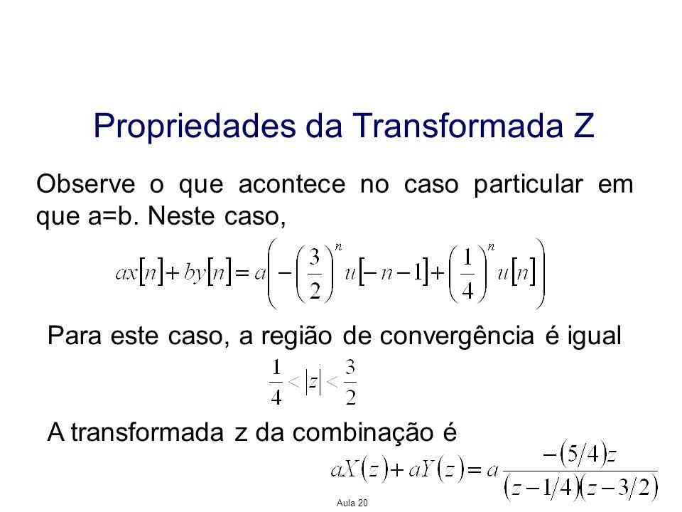 Aula 20 Propriedades da Transformada Z Observe o que acontece no caso particular em que a=b. Neste caso, Para este caso, a região de convergência é ig