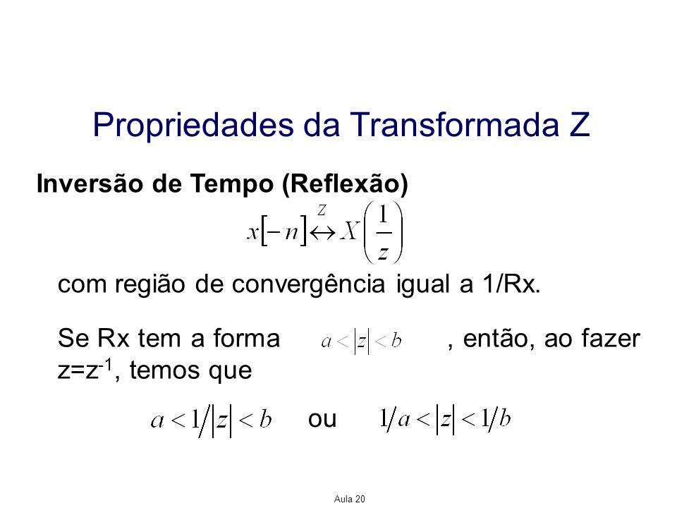 Aula 20 Propriedades da Transformada Z Inversão de Tempo (Reflexão) com região de convergência igual a 1/Rx. Se Rx tem a forma, então, ao fazer z=z -1