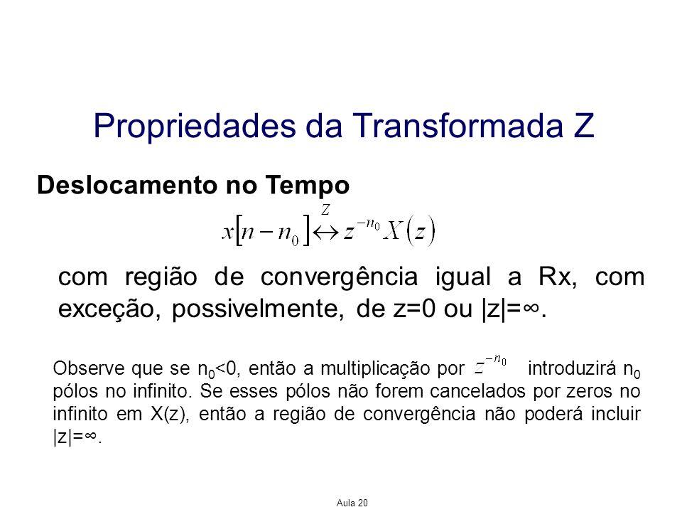 Aula 20 Propriedades da Transformada Z Deslocamento no Tempo com região de convergência igual a Rx, com exceção, possivelmente, de z=0 ou |z|=. Observ