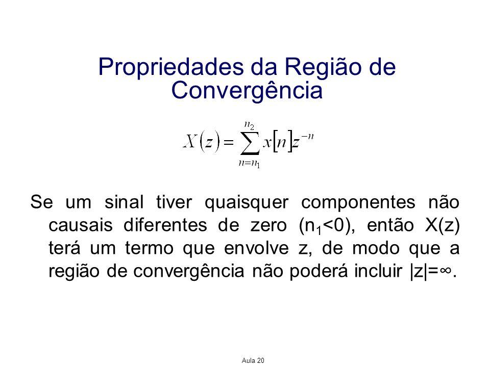 Aula 20 Propriedades da Região de Convergência Se um sinal tiver quaisquer componentes não causais diferentes de zero (n 1 <0), então X(z) terá um ter
