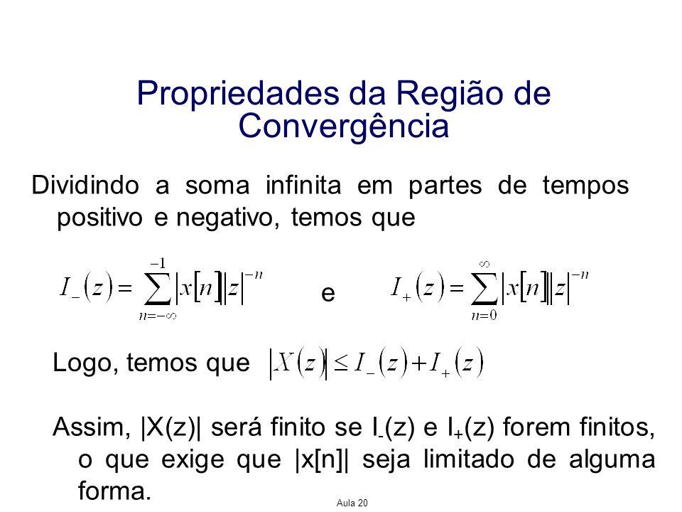 Aula 20 Propriedades da Região de Convergência Suponhamos, então, que possamos limitar  x[n] , encontrando as menores constantes positivas, A -, A +, r - e r +, tais que e Um sinal que satisfaz esses limites não cresce mais rápido do que r - n, quando n<0, ou do que r + n quando n0.