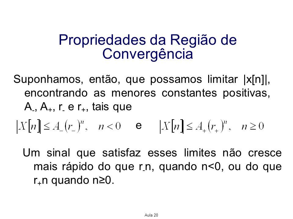 Aula 20 Propriedades da Região de Convergência Suponhamos, então, que possamos limitar |x[n]|, encontrando as menores constantes positivas, A -, A +,