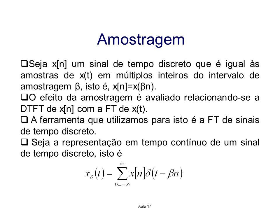 Aula 17 Amostragem Seja x[n] um sinal de tempo discreto que é igual às amostras de x(t) em múltiplos inteiros do intervalo de amostragem β, isto é, x[