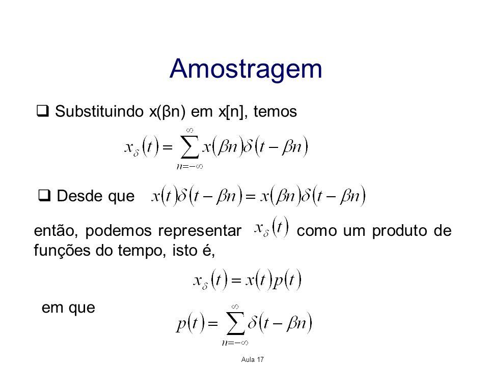Aula 17 Amostragem Substituindo x(βn) em x[n], temos Desde que então, podemos representar como um produto de funções do tempo, isto é, em que