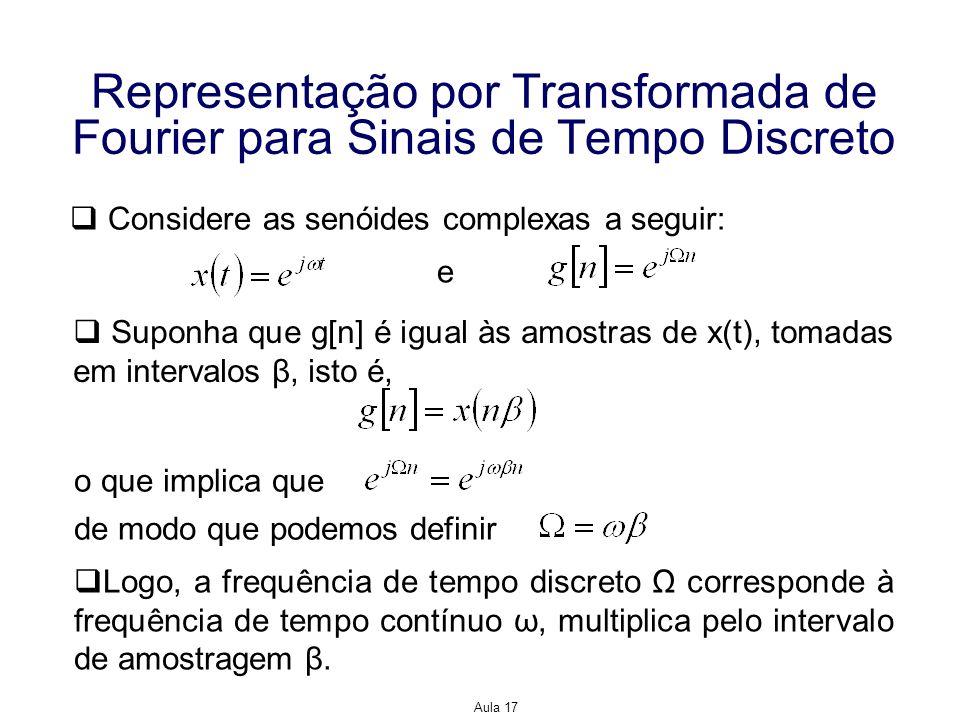 Aula 17 Representação por Transformada de Fourier para Sinais de Tempo Discreto Considere as senóides complexas a seguir: e Suponha que g[n] é igual à
