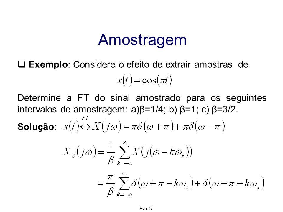 Aula 17 Amostragem Exemplo: Considere o efeito de extrair amostras de Determine a FT do sinal amostrado para os seguintes intervalos de amostragem: a)