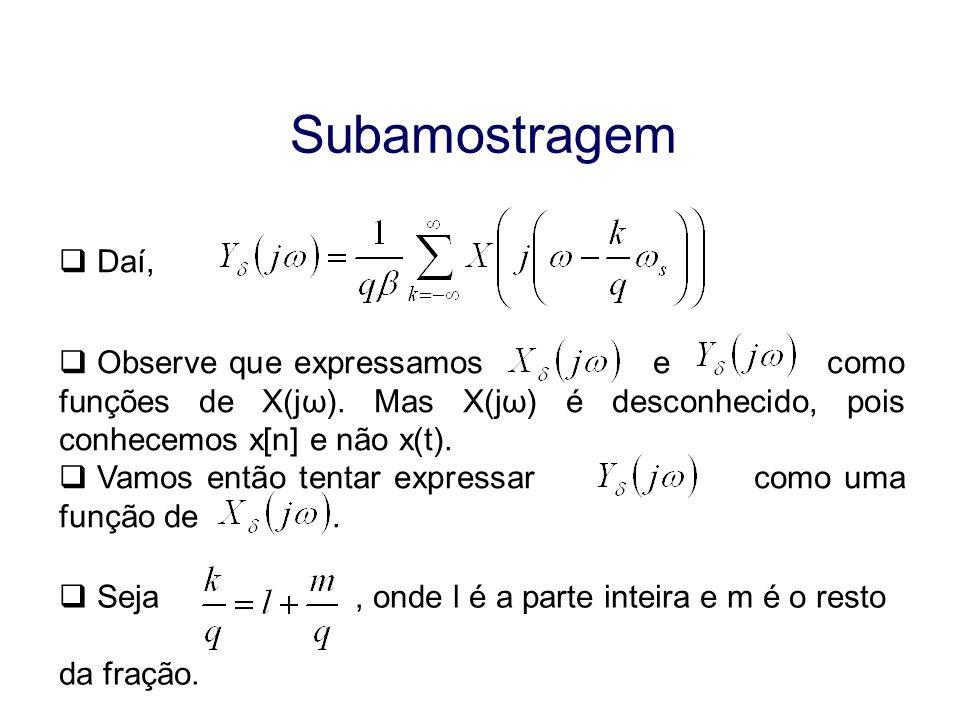 Subamostragem Daí, Observe que expressamos e como funções de X(jω). Mas X(jω) é desconhecido, pois conhecemos x[n] e não x(t). Vamos então tentar expr