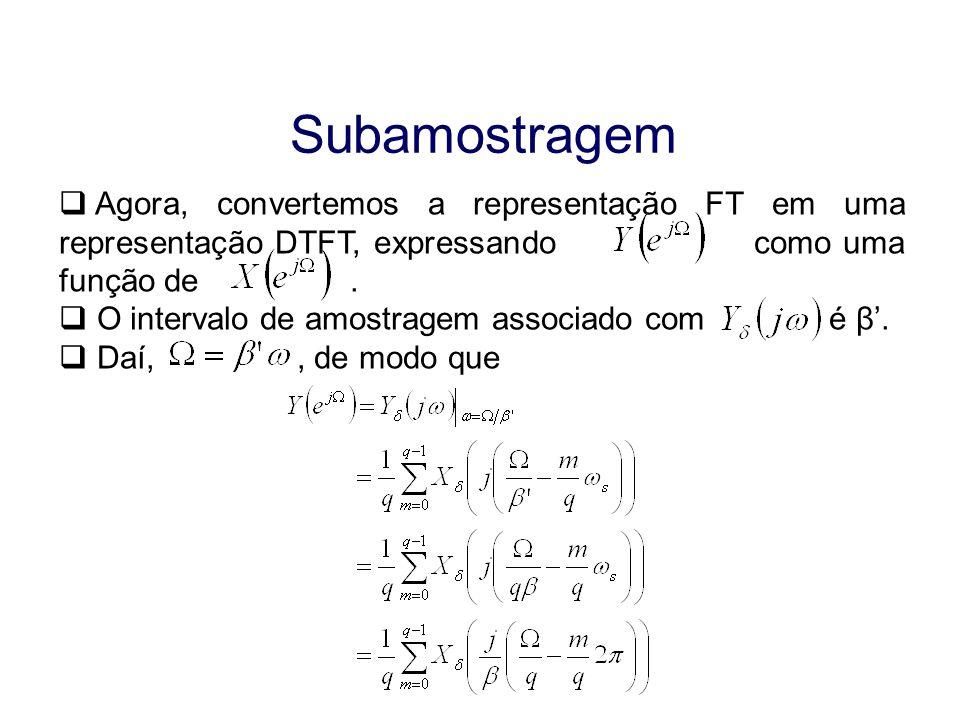 Subamostragem Agora, convertemos a representação FT em uma representação DTFT, expressando como uma função de. O intervalo de amostragem associado com