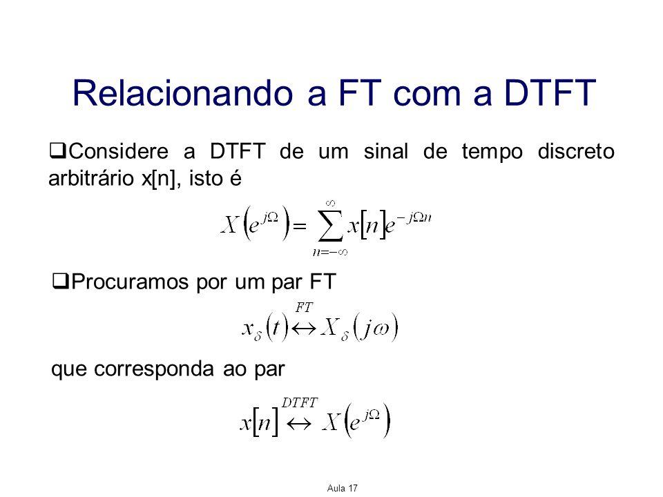Aula 17 Relacionando a FT com a DTFT Considere a DTFT de um sinal de tempo discreto arbitrário x[n], isto é Procuramos por um par FT que corresponda a