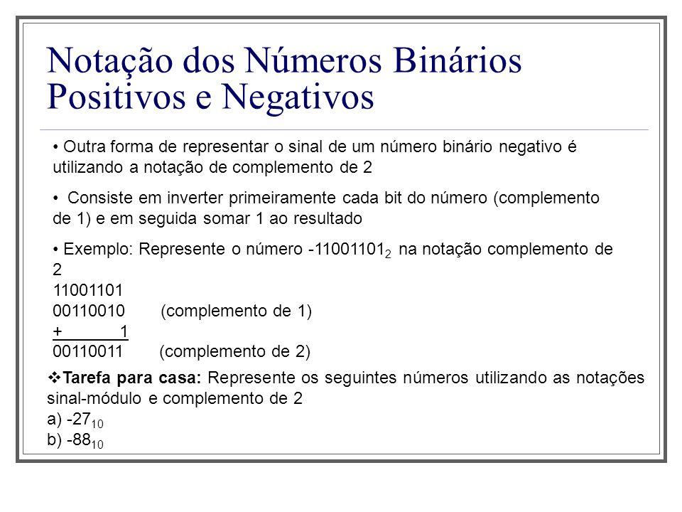 Notação dos Números Binários Positivos e Negativos Outra forma de representar o sinal de um número binário negativo é utilizando a notação de complemento de 2 Consiste em inverter primeiramente cada bit do número (complemento de 1) e em seguida somar 1 ao resultado Exemplo: Represente o número -11001101 2 na notação complemento de 2 11001101 00110010 (complemento de 1) + 1 00110011 (complemento de 2) Tarefa para casa: Represente os seguintes números utilizando as notações sinal-módulo e complemento de 2 a) -27 10 b) -88 10