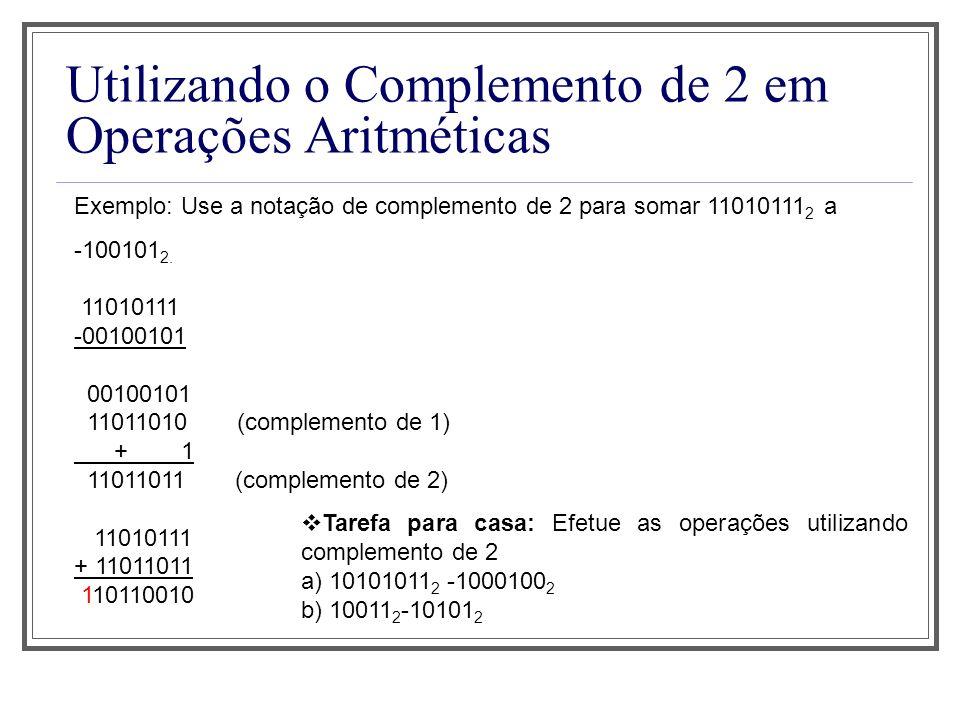 Utilizando o Complemento de 2 em Operações Aritméticas Exemplo: Use a notação de complemento de 2 para somar 11010111 2 a -100101 2.