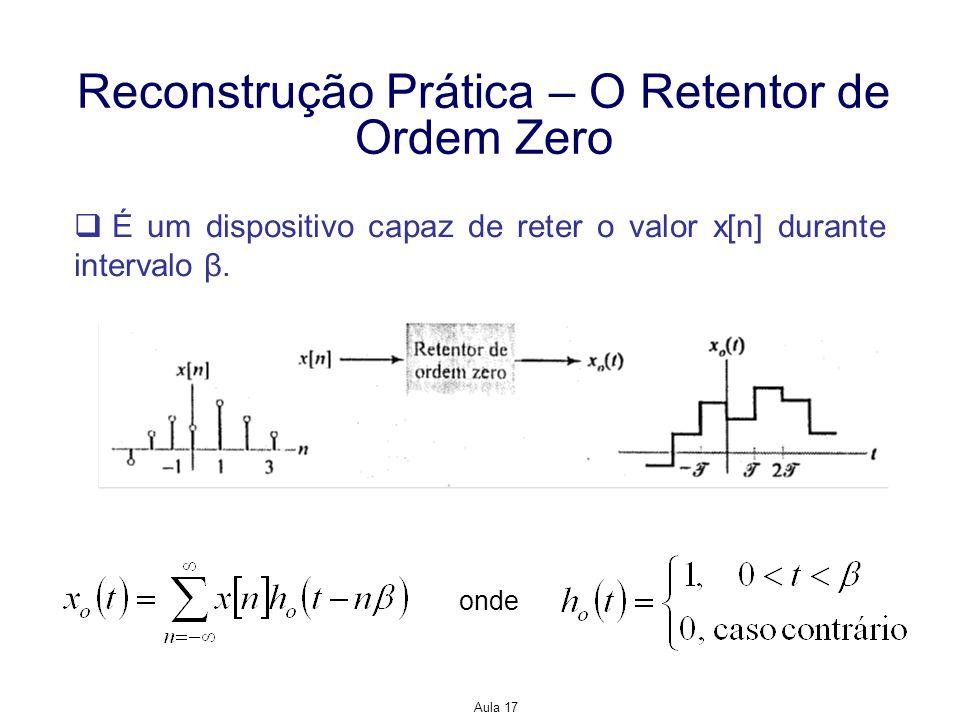 Aula 17 Reconstrução Prática – O Retentor de Ordem Zero É um dispositivo capaz de reter o valor x[n] durante intervalo β. onde