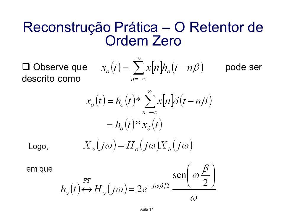Aula 17 Reconstrução Prática – O Retentor de Ordem Zero Observe que pode ser descrito como Logo, em que