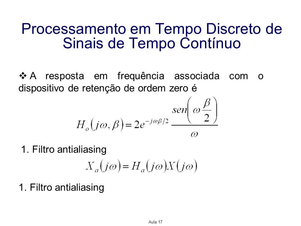 Aula 17 Processamento em Tempo Discreto de Sinais de Tempo Contínuo A resposta em frequência associada com o dispositivo de retenção de ordem zero é 1
