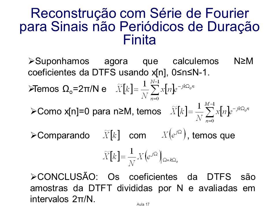 Aula 17 Reconstrução com Série de Fourier para Sinais não Periódicos de Duração Finita Suponhamos agora que calculemos NM coeficientes da DTFS usando