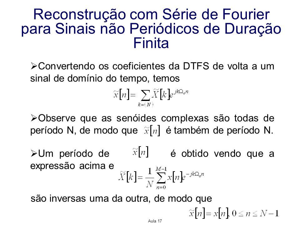 Aula 17 Reconstrução com Série de Fourier para Sinais não Periódicos de Duração Finita Convertendo os coeficientes da DTFS de volta a um sinal de domí