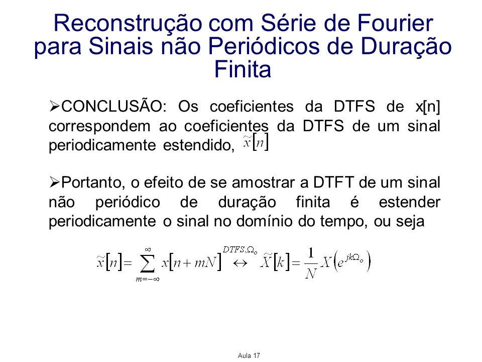 Aula 17 Reconstrução com Série de Fourier para Sinais não Periódicos de Duração Finita CONCLUSÃO: Os coeficientes da DTFS de x[n] correspondem ao coef