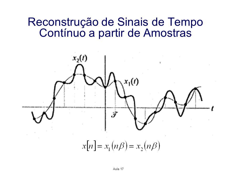 Aula 17 Reconstrução de Sinais de Tempo Contínuo a partir de Amostras Para reconstruir de forma única um sinal de tempo contínuo a partir de suas amostras, deve-se haver uma correspondência única entre as FTs do sinal de tempo contínuo e sua versão amostrada.
