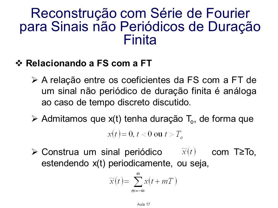 Aula 17 Reconstrução com Série de Fourier para Sinais não Periódicos de Duração Finita Relacionando a FS com a FT A relação entre os coeficientes da F