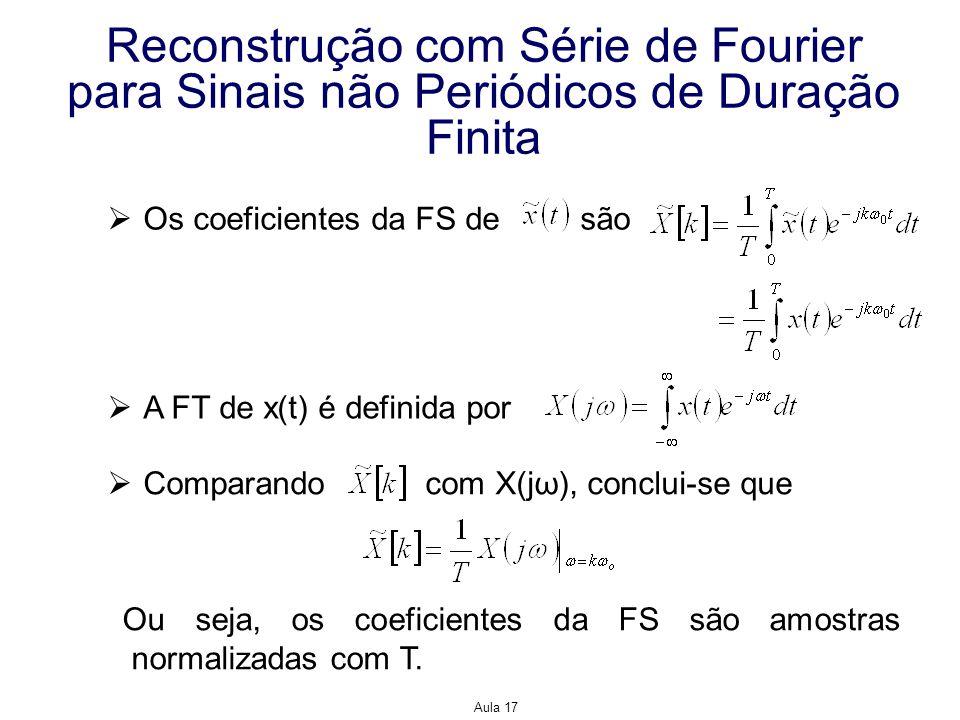 Aula 17 Reconstrução com Série de Fourier para Sinais não Periódicos de Duração Finita Os coeficientes da FS de são A FT de x(t) é definida por Compar