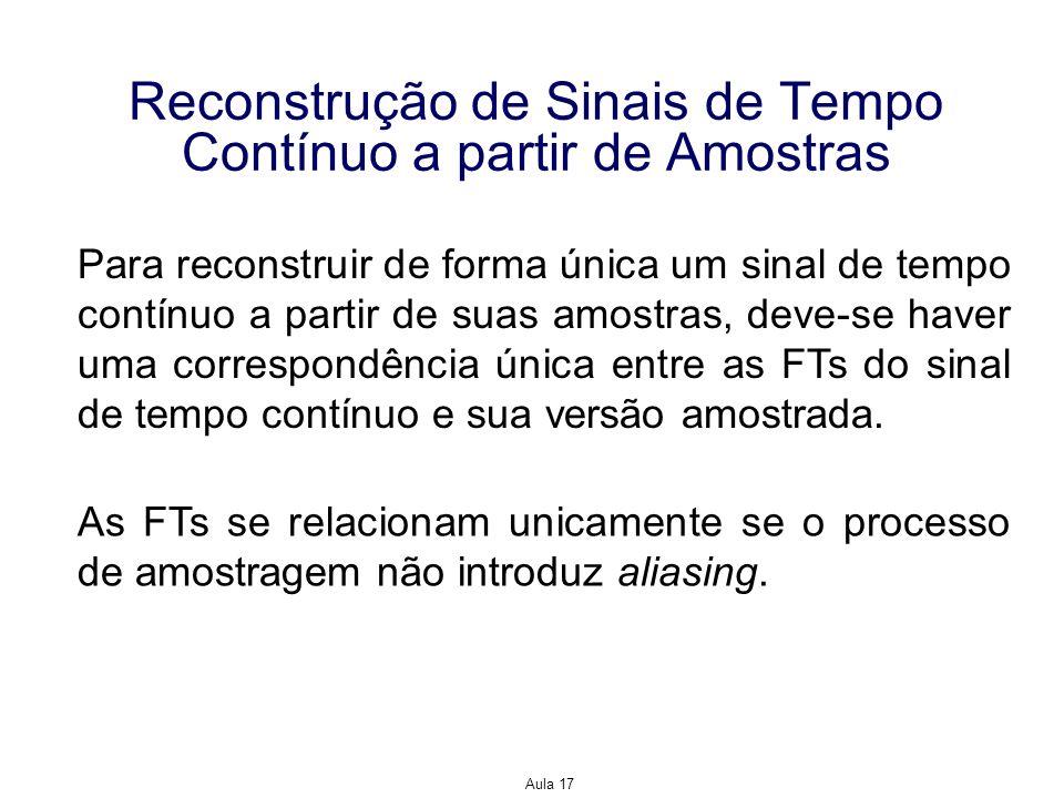 Aula 17 Reconstrução de Sinais de Tempo Contínuo a partir de Amostras Para reconstruir de forma única um sinal de tempo contínuo a partir de suas amos