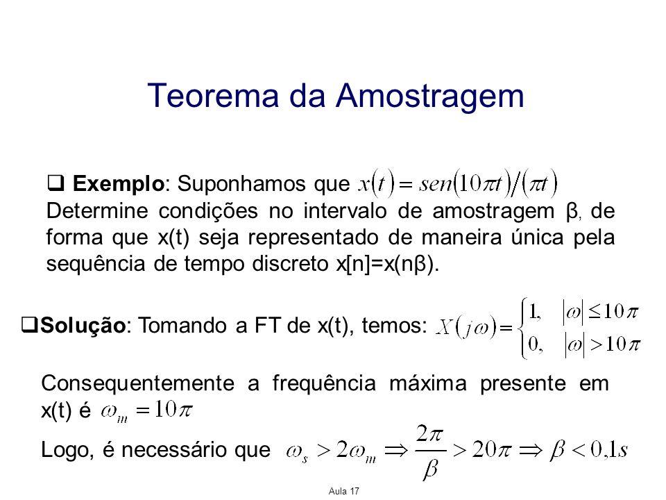 Aula 17 Teorema da Amostragem Exemplo: Suponhamos que Determine condições no intervalo de amostragem β, de forma que x(t) seja representado de maneira