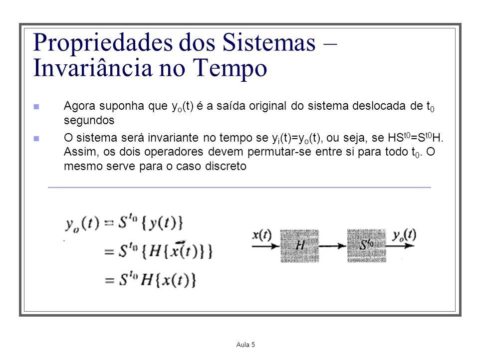 Aula 5 Propriedades dos Sistemas – Invariância no Tempo Agora suponha que y o (t) é a saída original do sistema deslocada de t 0 segundos O sistema se