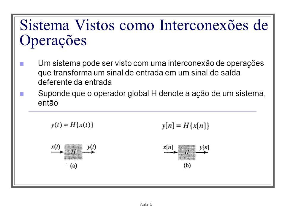 Aula 5 Sistema Vistos como Interconexões de Operações Um sistema pode ser visto com uma interconexão de operações que transforma um sinal de entrada e