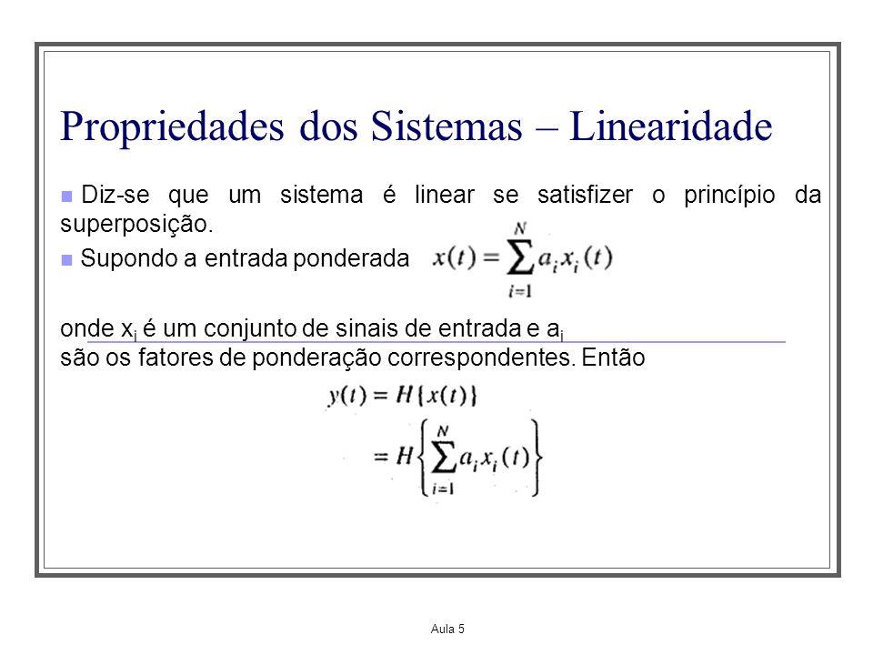 Aula 5 Propriedades dos Sistemas – Linearidade Diz-se que um sistema é linear se satisfizer o princípio da superposição. Supondo a entrada ponderada o