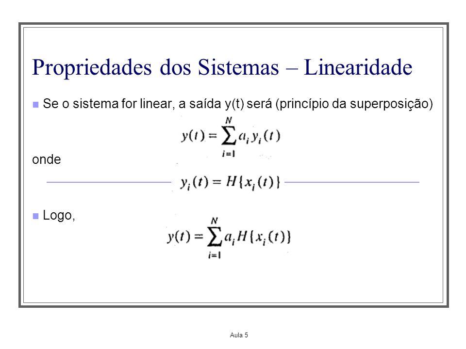 Aula 5 Propriedades dos Sistemas – Linearidade Se o sistema for linear, a saída y(t) será (princípio da superposição) onde Logo,