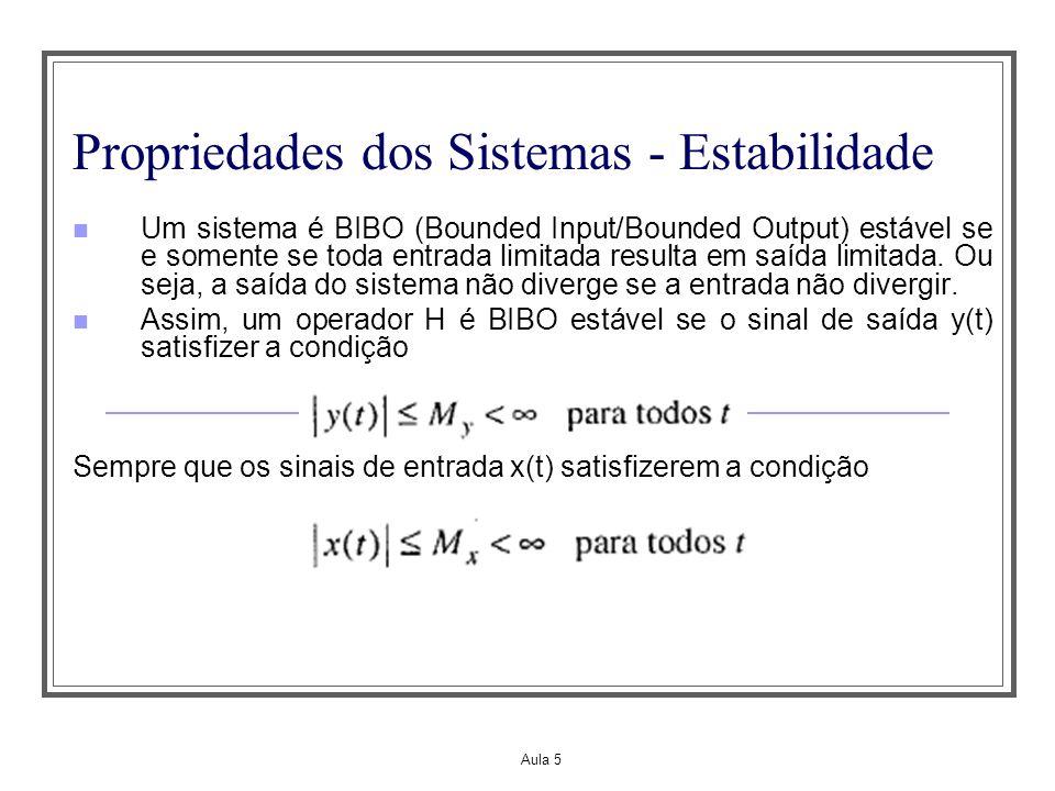Aula 5 Propriedades dos Sistemas – Invariância no Tempo Agora suponha que y o (t) é a saída original do sistema deslocada de t 0 segundos O sistema será invariante no tempo se y i (t)=y o (t), ou seja, se HS t0 =S t0 H.