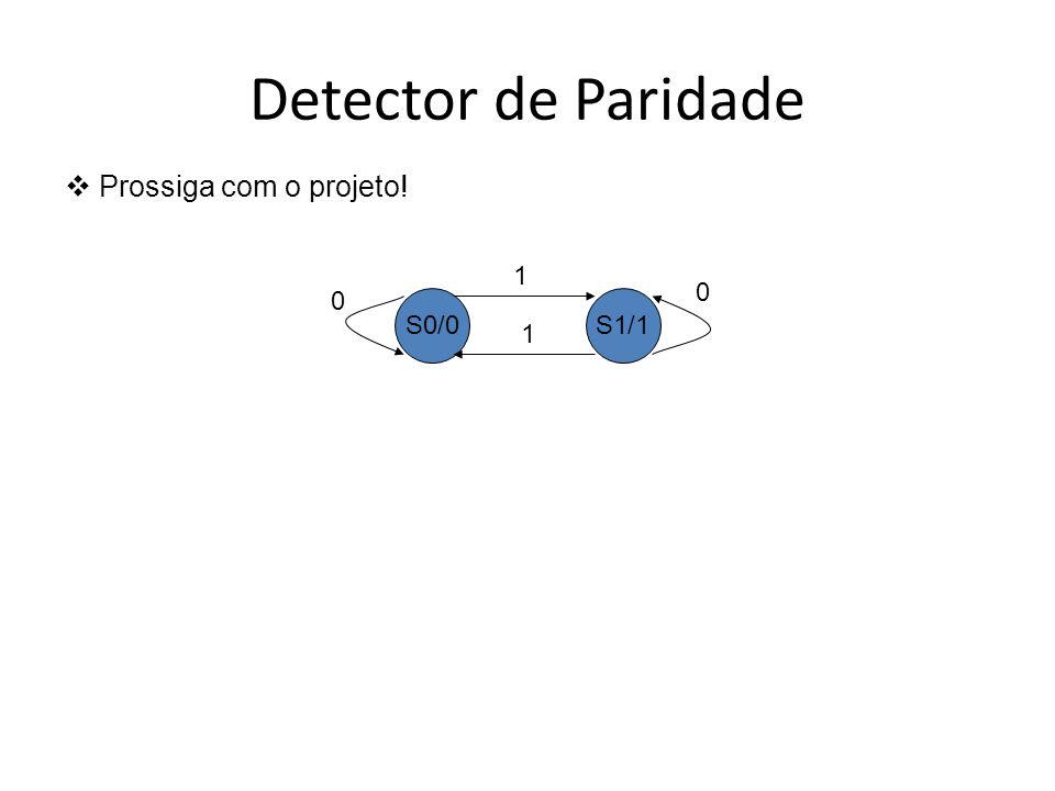 Detector de Paridade Prossiga com o projeto! S0/0S1/1 0 0 1 1