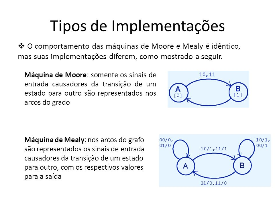 Etapas de Projeto de Circuitos Sequenciais 1º passo: elaborar diagrama de estados que interprete fielmente o problema que se deseja resolver; 2º passo: opcionalmente pode-se minimizar o número de estados no diagrama de estados; 3º passo: escrever a tabela de estados, com os estados atuais, próximos estados e saídas; 4º passo: atribuir a cada estado uma combinação de variáveis de estado (flip-flops); 5º passo: construir a tabela de excitação do tipo de flip-flop utilizado;