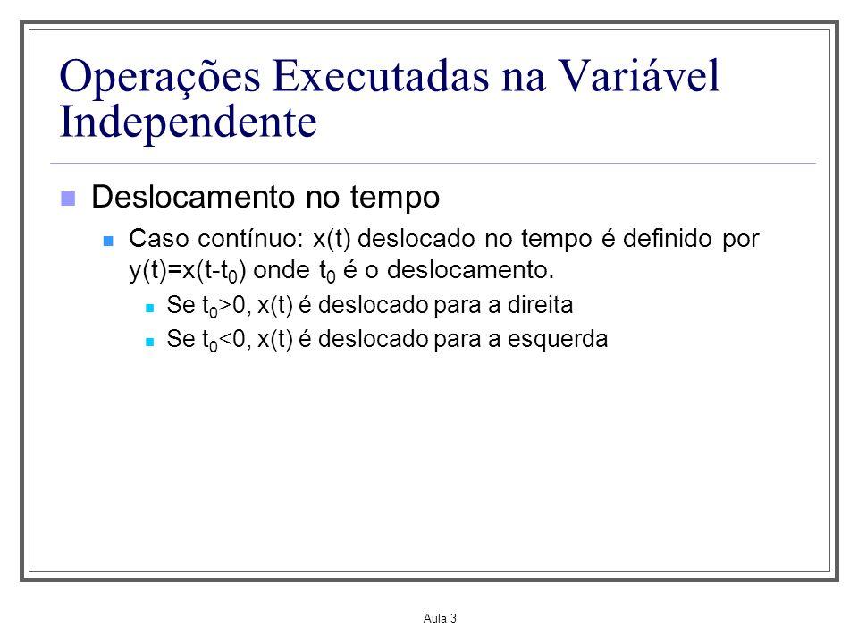 Aula 3 Operações Executadas na Variável Independente Deslocamento no tempo Caso contínuo: x(t) deslocado no tempo é definido por y(t)=x(t-t 0 ) onde t