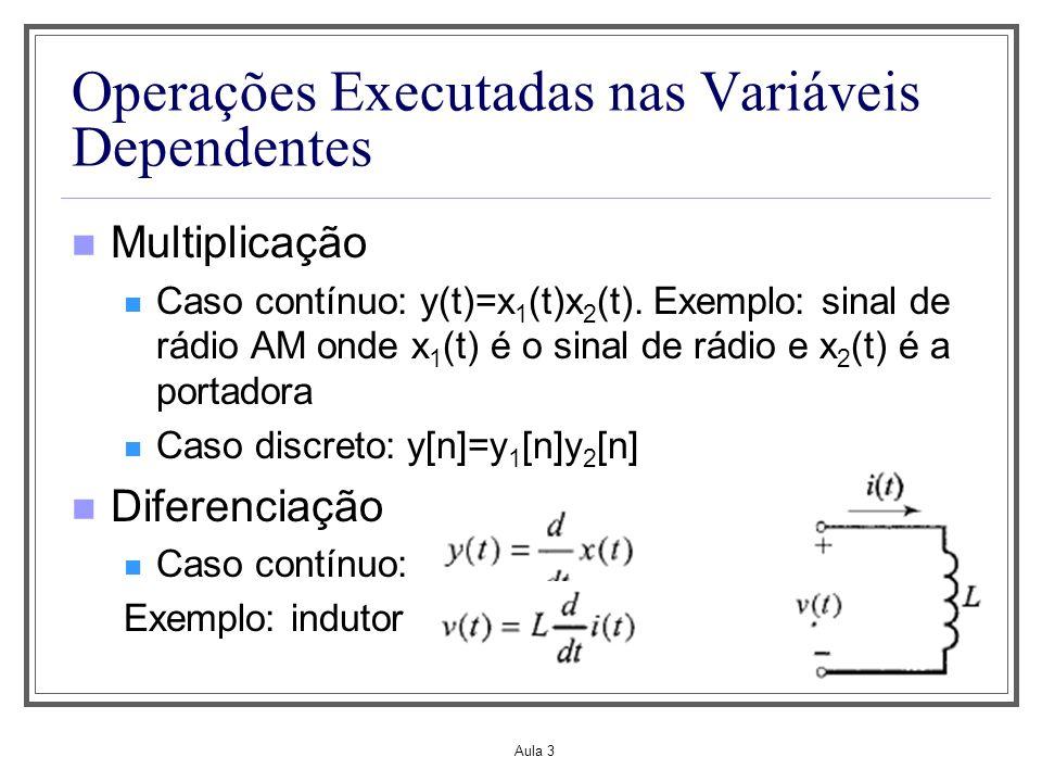 Aula 3 Operações Executadas nas Variáveis Dependentes Multiplicação Caso contínuo: y(t)=x 1 (t)x 2 (t). Exemplo: sinal de rádio AM onde x 1 (t) é o si