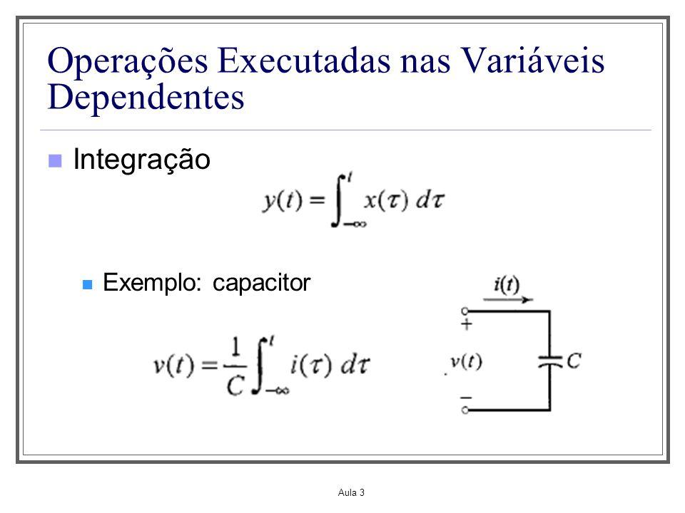 Aula 3 Operações Executadas na Variável Independente Mudança de escala de tempo Caso contínuo: y(t)=x(at) Se a>1, y(t) é uma versão comprimida de x(t) Se a<1, y(t) é uma versão expandida de x(t)