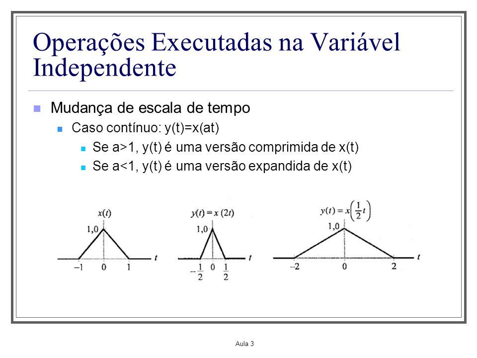 Aula 3 Operações Executadas na Variável Independente Caso discreto: y[n]=x[kn], k>0 e inteiro Se k>1 alguns valores do sinal de tempo discreto y[n] são perdidos