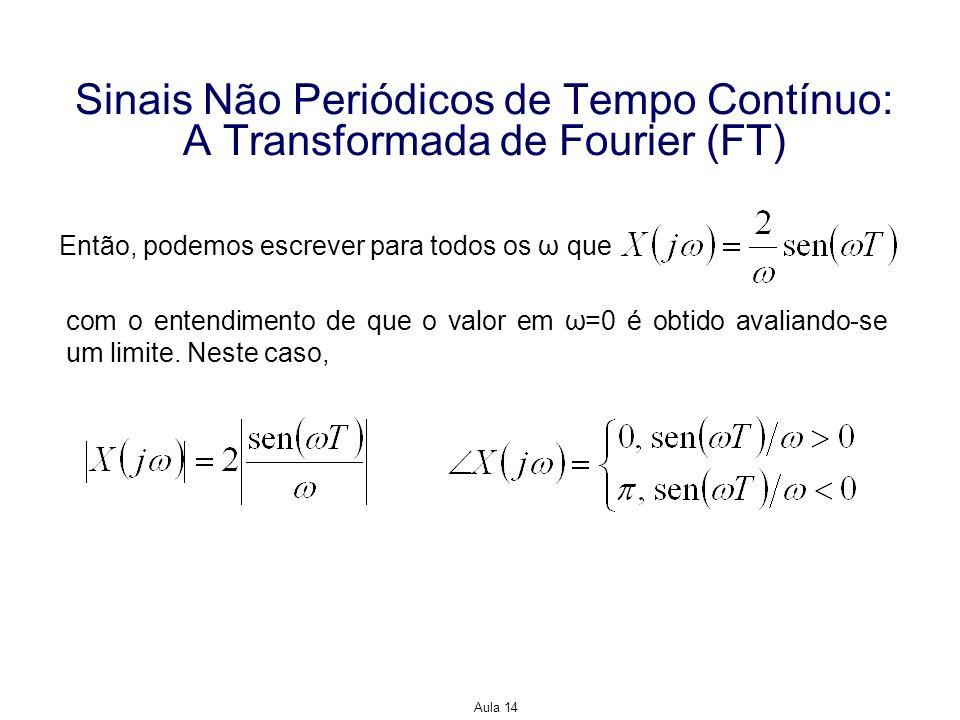 Aula 14 Sinais Não Periódicos de Tempo Contínuo: A Transformada de Fourier (FT) Então, podemos escrever para todos os ω que com o entendimento de que