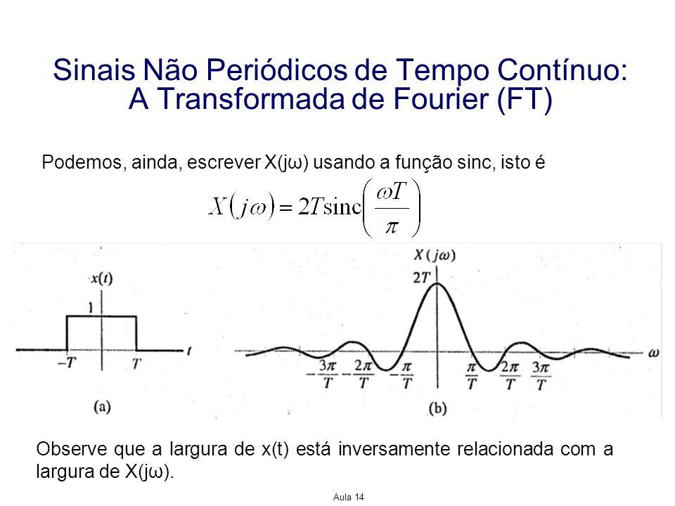 Aula 14 Sinais Não Periódicos de Tempo Contínuo: A Transformada de Fourier (FT) Podemos, ainda, escrever X(jω) usando a função sinc, isto é Observe qu