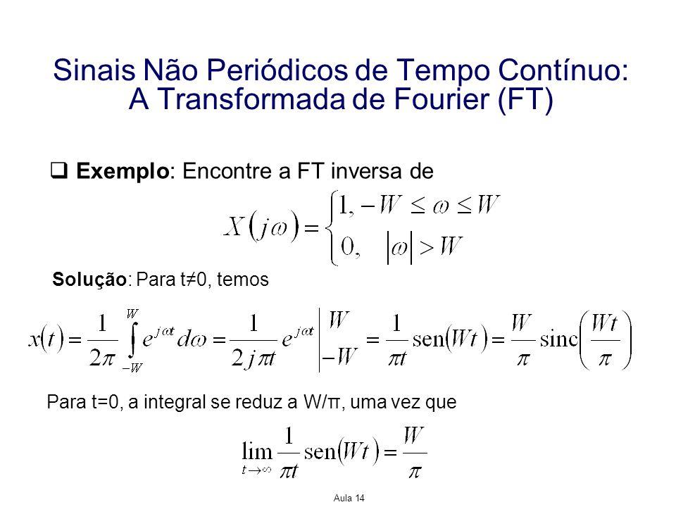 Aula 14 Sinais Não Periódicos de Tempo Contínuo: A Transformada de Fourier (FT) Exemplo: Encontre a FT inversa de Solução: Para t0, temos Para t=0, a