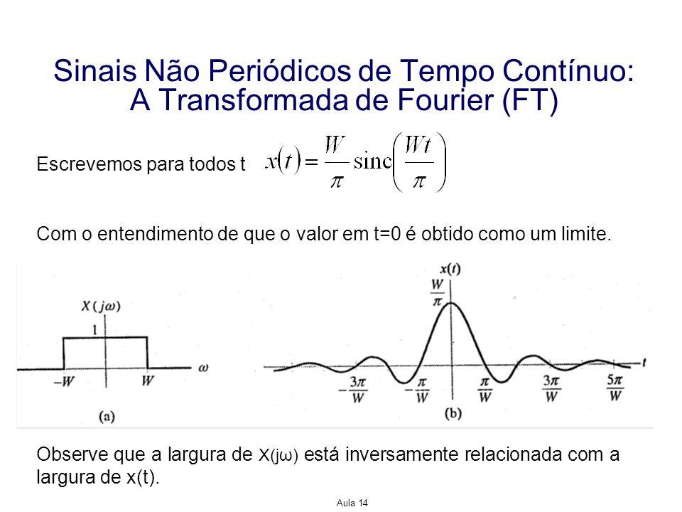 Aula 14 Sinais Não Periódicos de Tempo Contínuo: A Transformada de Fourier (FT) Escrevemos para todos t Com o entendimento de que o valor em t=0 é obt