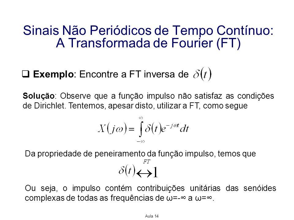 Aula 14 Sinais Não Periódicos de Tempo Contínuo: A Transformada de Fourier (FT) Exemplo: Encontre a FT inversa de Solução: Observe que a função impuls