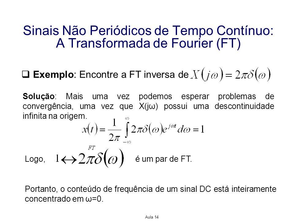 Aula 14 Sinais Não Periódicos de Tempo Contínuo: A Transformada de Fourier (FT) Exemplo: Encontre a FT inversa de Solução: Mais uma vez podemos espera