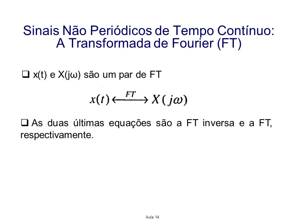 Aula 14 Sinais Não Periódicos de Tempo Contínuo: A Transformada de Fourier (FT) Exemplo: Encontre a FT inversa de Solução: Observe que a função impulso não satisfaz as condições de Dirichlet.