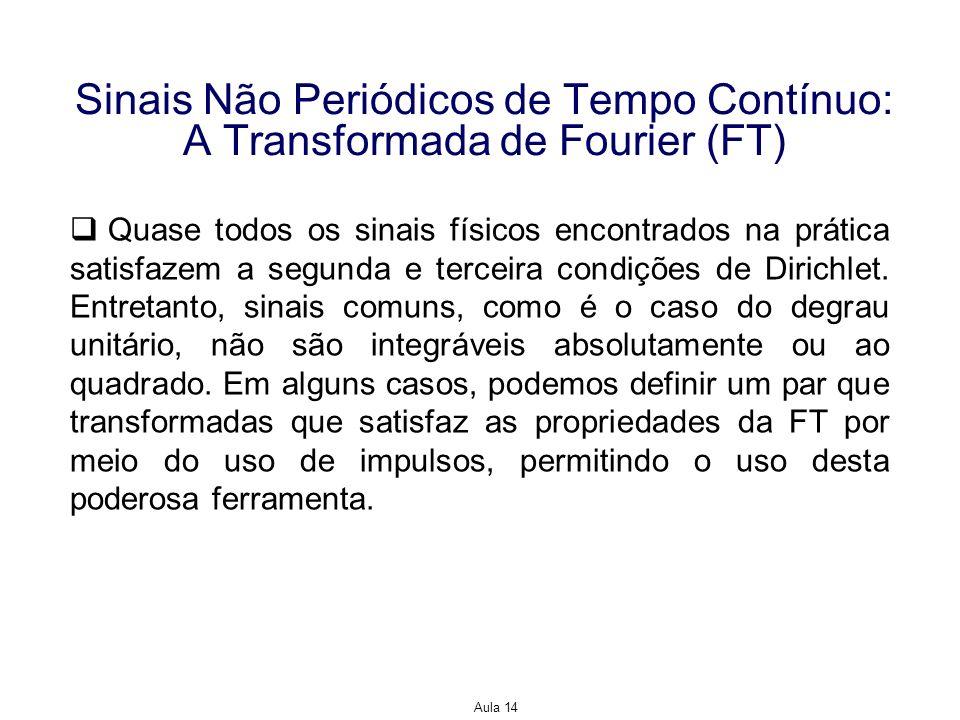 Aula 14 Sinais Não Periódicos de Tempo Contínuo: A Transformada de Fourier (FT) Quase todos os sinais físicos encontrados na prática satisfazem a segu