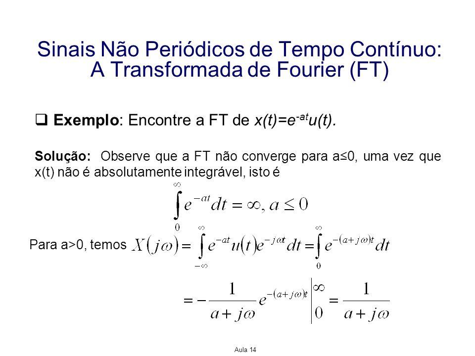 Aula 14 Sinais Não Periódicos de Tempo Contínuo: A Transformada de Fourier (FT) Exemplo: Encontre a FT de x(t)=e -at u(t). Solução: Observe que a FT n