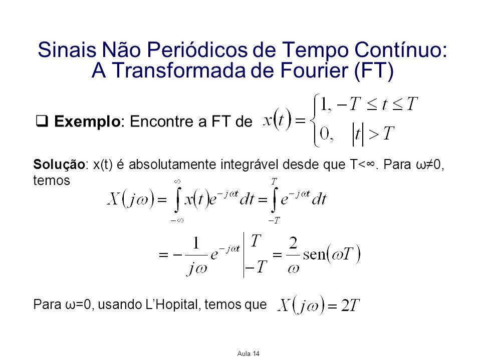 Aula 14 Sinais Não Periódicos de Tempo Contínuo: A Transformada de Fourier (FT) Então, podemos escrever para todos os ω que com o entendimento de que o valor em ω=0 é obtido avaliando-se um limite.