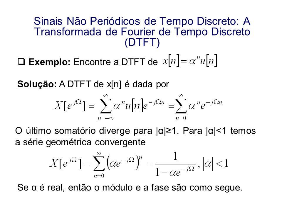 Sinais Não Periódicos de Tempo Discreto: A Transformada de Fourier de Tempo Discreto (DTFT) Exemplo: Encontre a DTFT de Solução: A DTFT de x[n] é dada
